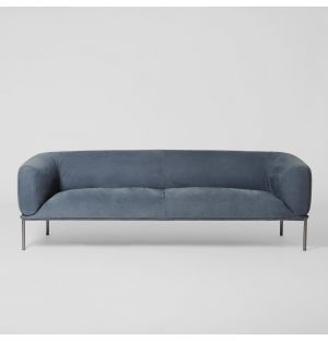 Canapé en cuir velours bleu pétrole Rondo - 3 places