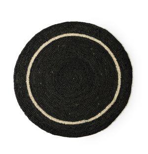 Set de table rond noir & naturel - 38 cm