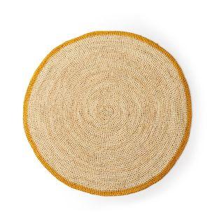 Set de table rond moutarde & naturel - 38 cm