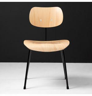 Chaise SE68 en hêtre naturel & piétement noir