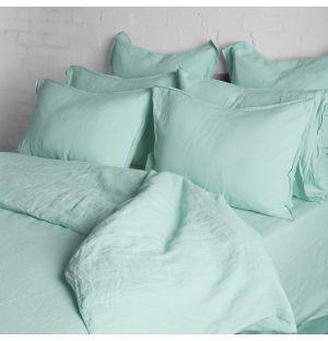 Linge de lit en lin menthe