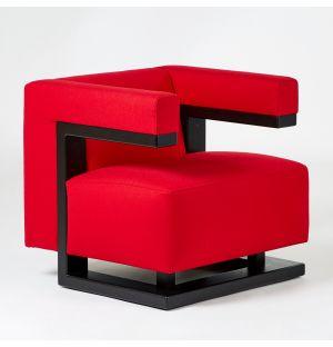 Fauteuil noir et rouge F51 Armchair