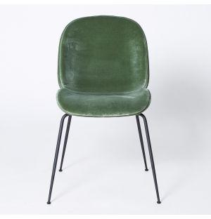 Chaise en velours vert Beetle- piétement noir - modèle d'exposition