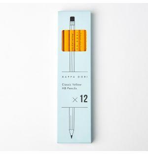 Lot de 12 crayons à papier classiques jaunes