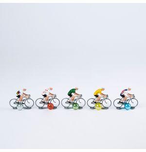 Ensemble de 5 Cyclistes Miniatures