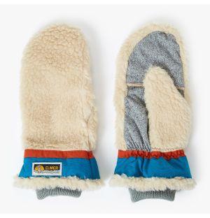 Moufles en peau lainée beige et bleu ciel