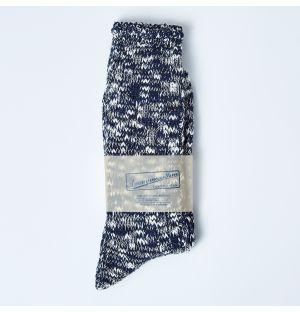Chaussettes en coton flammé bleu marine