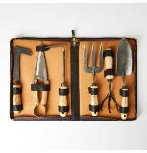 Ensemble d'outils de jardinage – cuir marron foncé