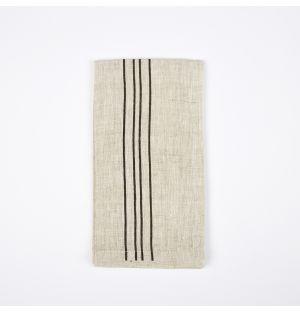 Serviette de table en lin à quatre rayures noires