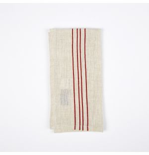 Serviette de table en lin à quatre rayures rouges