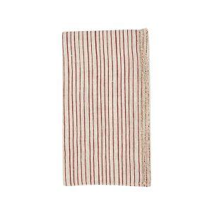 Serviette de table en lin à rayures rouges