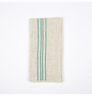 Serviette de table en lin à rayures vertes