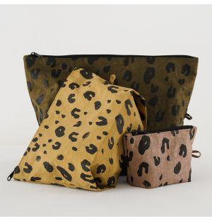 Ensemble de 3 pochettes zippées Leopard