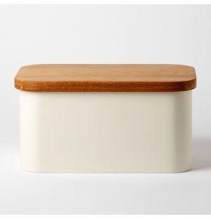 Boîte à pain blanche et planche à découper en chêne