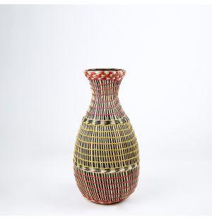 Vase en bambou et en herbier rose – 42 cm