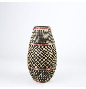 Vase en bambou et en herbier rose – 36 cm