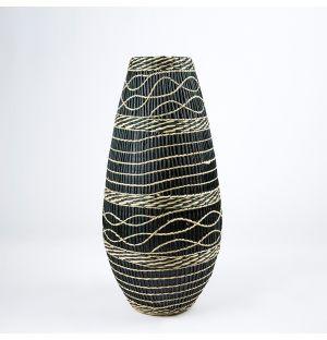Vase en bambou et en herbier noir – 50 cm