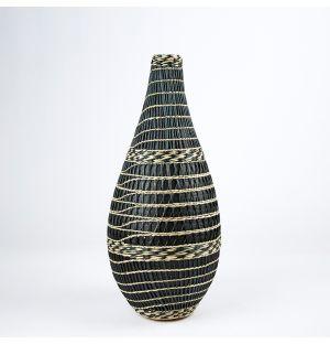 Vase en bambou et en herbier noir – 49 cm