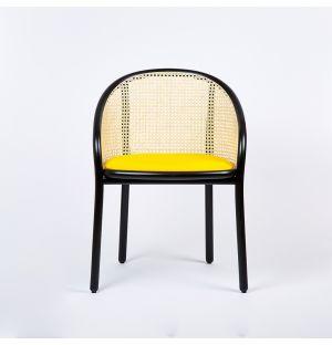 Chaise Latis en cannage et tissu Raf Simmons jaune - Modèle d'exposition