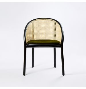 Chaise Latis en cannage et tissu Raf Simmons vert- Modèle d'exposition