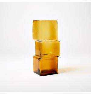 Vase ambre Cube