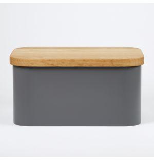 Boîte à pain grise et planche à découper en chêne