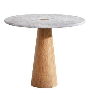 Table d'appoint en chêne et marbre de Carrare Brimstone Large