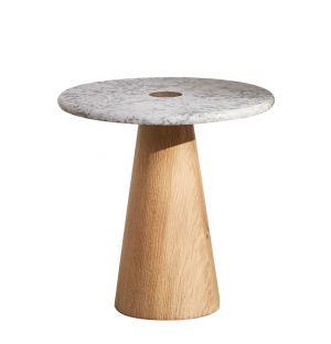 Table d'appoint en chêne et marbre de Carrare Brimstone Small