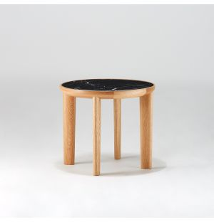 Table d'appoint Hole en chêne et marbre Marquina