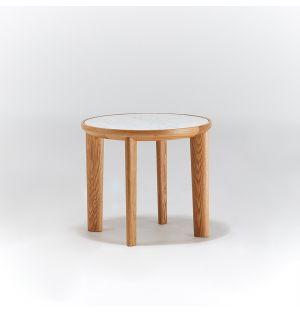 Table d'appoint Hole en chêne et marbre de Carrare