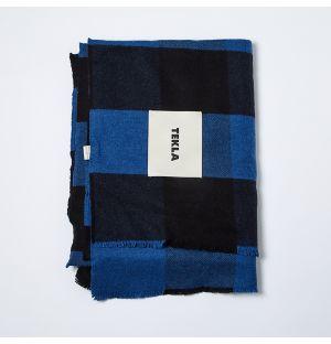 Plaid bleu et noir en laine mérinos