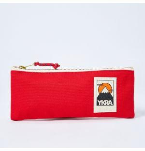Trousse à crayons en toile rouge