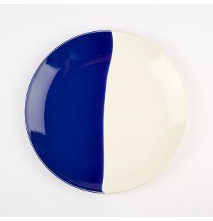 Grande assiette bleu cobalt et crème Dip – 28 cm