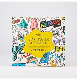 Poster géant à colorier et stickers Street Art