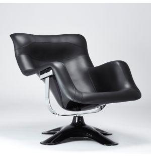 Fauteuil Karuselli en cuir noir Prestige