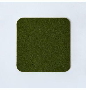 Dessous de verre carré en feutre vert olive