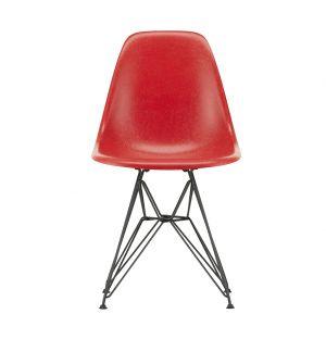 Chaise Fiberglass DSR rouge classique - piètement époxy basic dark