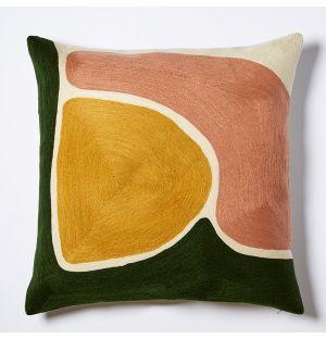 Housse de coussin jaune, rose et verte Mesa