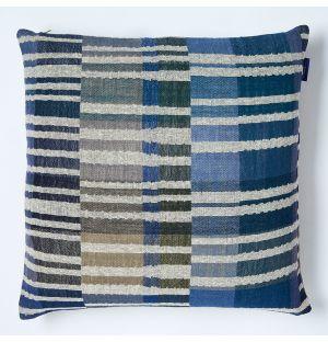Housse de coussin en lin et en soie bleu Delphi