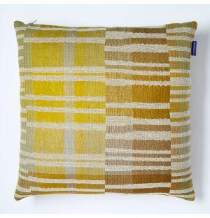 Housse de coussin en lin et en soie jaune Delphi