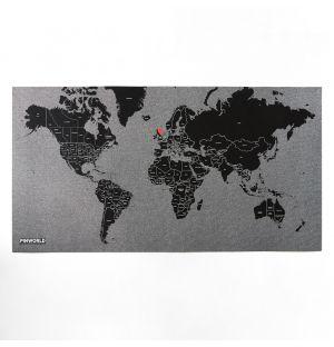 Carte du monde noire Pin