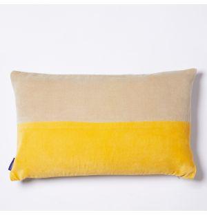 Housse de coussin en velours jaune et beige