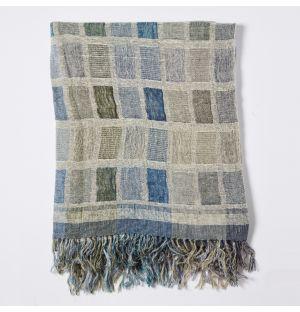 Plaid à carreaux en soie bleue