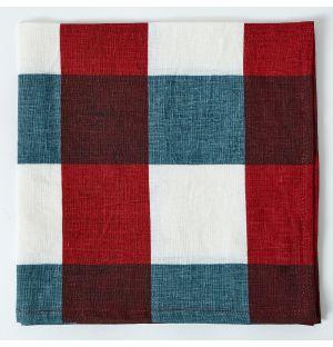Serviette de table à carreaux en lin - rouge et bleu