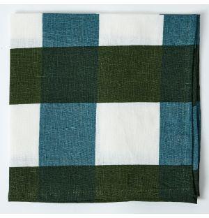 Serviette de table à carreaux en lin - vert et bleu
