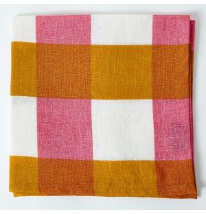Serviette de table à carreaux en lin - ocre et rose