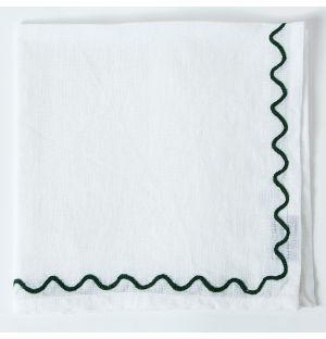 Serviette de table à broderies vertes