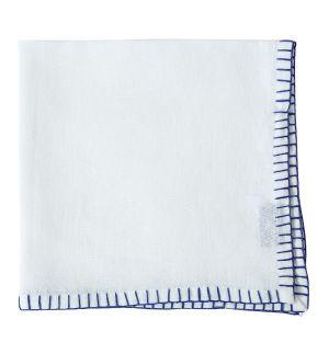 Serviette de table en lin blanc à coutures bleues