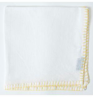 Serviette de table en lin blanc à coutures jaunes