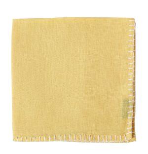 Serviette de table en lin jaune à coutures blanches